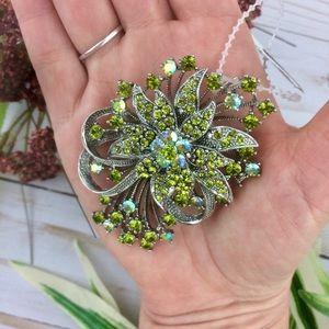L. Danzic Green Rhinestone Flower Bow Brooch
